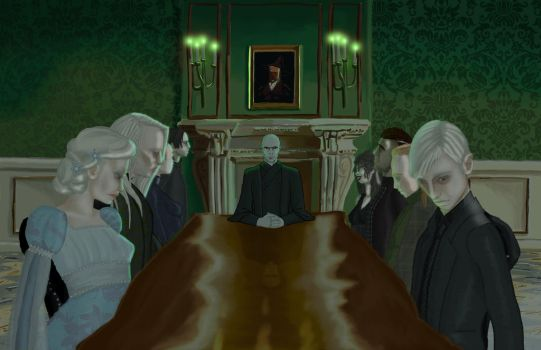Harry Potter: Death Eater meeting at Malfoy Manor by britne-elizabeth
