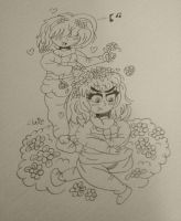 Frisk and Chara in the flowerbed by Claire-Petal-Splash