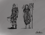Post apocalyptic larp-character sketches by Mjauei