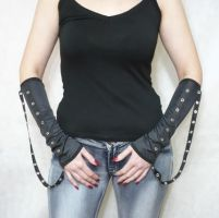 Black cyber punk armwarmers by Estylissimo