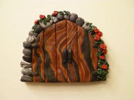 Red Roses Double Fairy Door by FlyingFrogCreations