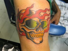 Crazy colored skull and flames by ChadGrimm