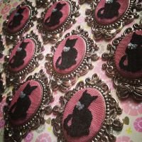 Hand Embroidered Black Kitty Necklace by The-Gwyllion