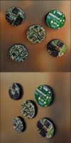 Recycled Electronic Circuit Board Fridge Magnets by M2Grzegorczyk