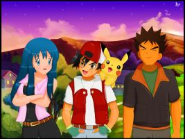 Brock, Dawn and Ash by devashri