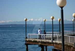 View of Olympic Mountains by moncoeur