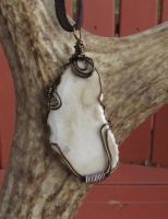 Forest Bull Moose Antler Wire Wrapped Penant by MorRokko