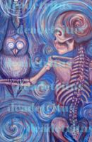 swirly skeleton y owl by cacographyX