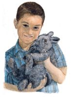 Elijah and Snuggles the Bunny by chrisfire1