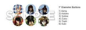 Avatar: The Last Airbender - Buttons Catalogue by agent-ayu