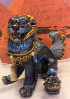 Nile Queen: Egyptian Themed Mother Foo Dog and Pup by Eviecats