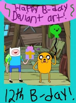 Finn and Jake wish DA a happy B-day! by almybunny