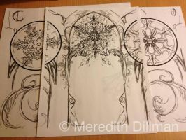 Snowflake composition background sketch by MeredithDillman