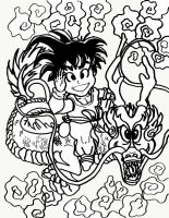 Goku and Shenron lineart by KwongBee-Arts