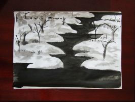 Sumie Exp. 04 - Snow landscape by Adhago