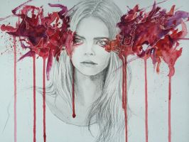 Regard de braise - Cara Delevingne - Watercolor by aohnna