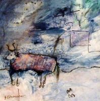 Edminster-Suzanne-Bull-In Winter-original-abstact by SuzanneEdminster1