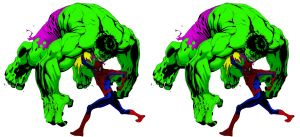 Spider-man vs. Hulk in 3D by doubleWOE7