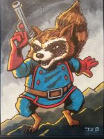 Rocket Raccoon sketch card by sirandal