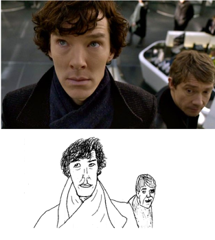 Sherlock and Watson sketch, new pic by PippinRocks