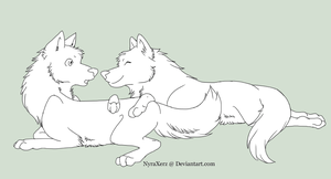 Free Wolf Couple Line Art by NyraXerz