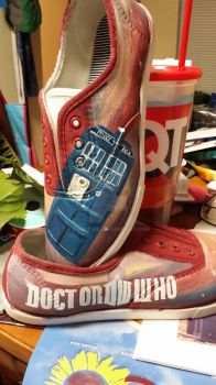 Doctor Who Painted Canvas Shoes by SlinkyInk