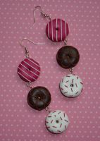 Doughnut Dangle earrings by PORGEcreations