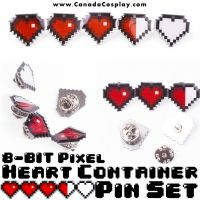 8-Bit Pixel Heart Container Pin Set by calgarycosplay