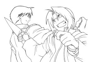 Edward Elric and Roy Mustang lineart. by PatriciaMuacMuac