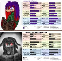 Moreta and Damion character sheets meme by queenmoreta