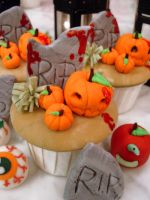 Bloody Pumpkin Cupcakes by Sliceofcake