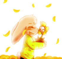 Golden flower field by Cinnamomotte