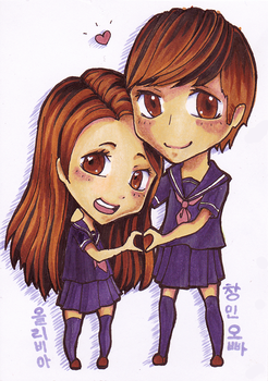 Copic Commission: Olivia and Changmin by pockypaint