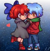 Chibi Rayium And Guizzmo - Fire and Ice by CreatorOfCastell