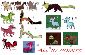 10 points! - leftover adoptables by CaledonCat