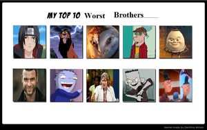 My Top 10 Worst Brothers by KessieLou