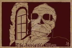 Invisible Man Silkscreen Postcard by JesseAcosta