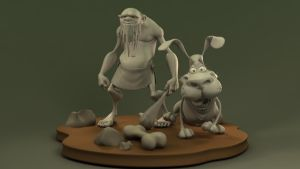 Caveman and Dog Models by Radik-Image