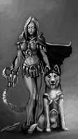 Armored Girk With cute doggie by styxwalrush