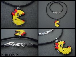 Handmade Seed Bead Mrs. Pacman Necklace by Pixelosis