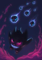 Gengar - Pokemon Old is Cool Collab by gabrielrubio