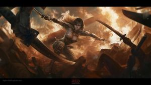Battle in the temple of the sun, Amaterasu Guardia by RedreevGeorge