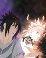 Naruto and Sasuke Smile - Naruto 641 by pollo0389