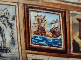 battling ships mini painting by MikeBourbeauArt