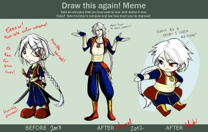 Before After Meme - Tiamat's first charadesign by Tiamate
