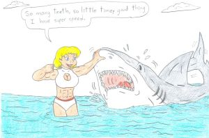 Power Girl vs Jaws by Jose-Ramiro