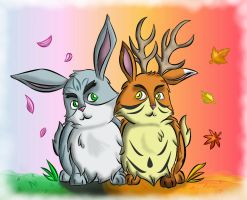 Spring and Autumn bunnies by ladyofthewilds
