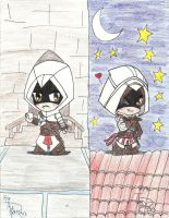 Chibi Altair and Chibi Ezio by KaishySaiyanPrincess