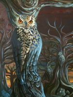 Final piece: Owls in the Trees [Closeup] by WingsFor-Marie