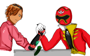 Ankh and Gokai Red arm wrestling by fighterxaos